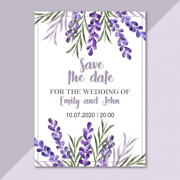 Watercolor floral border. wedding invitation card Premium Vector