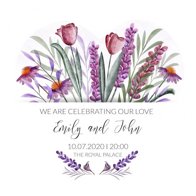 Watercolor Floral Border Wedding Invitation Card Vector