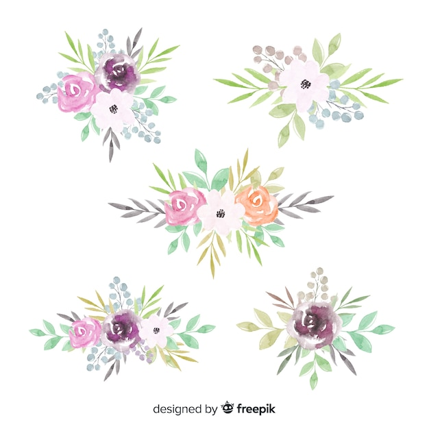 Watercolor floral bouquet collection Free Vector