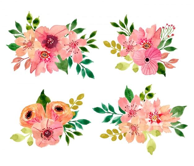 Watercolor floral bouquet collection Premium Vector