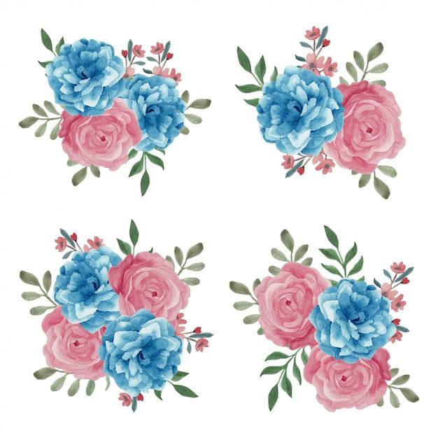 Акварельный цветочный букет в синем розовом цвете Premium векторы