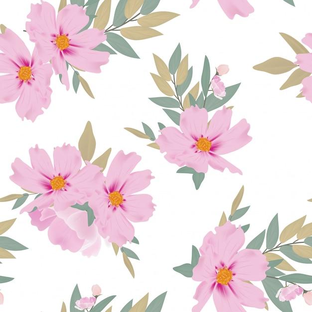 Watercolor floral bouquet seamless pattern Premium Vector