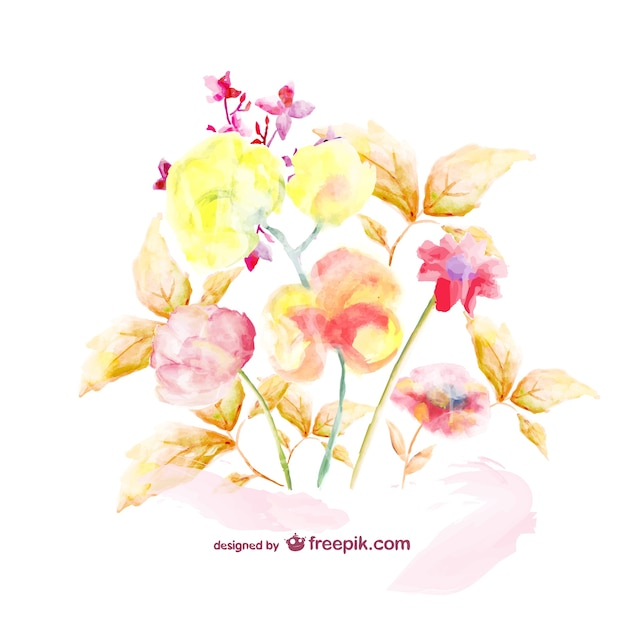 Watercolor floral bouquet template vector free download for Watercolor painting templates free