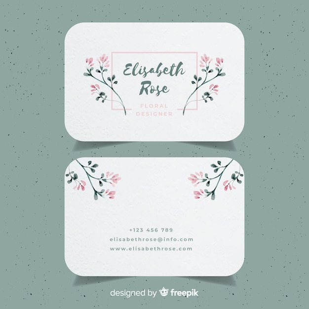 Watercolor floral business card template vector free download watercolor floral business card template free vector cheaphphosting Gallery