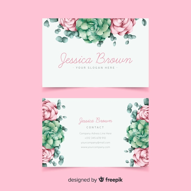 Watercolor floral business card template Free Vector