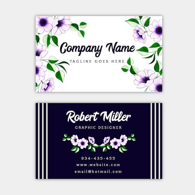 Watercolor floral business card Premium Vector
