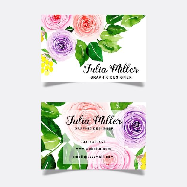Watercolor floral business cards Premium Vector