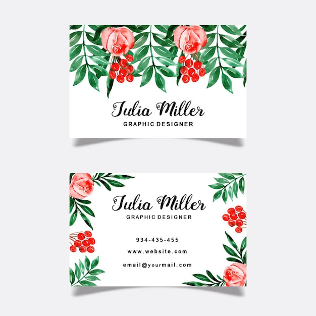 Watercolor floral business cards Premium Vector