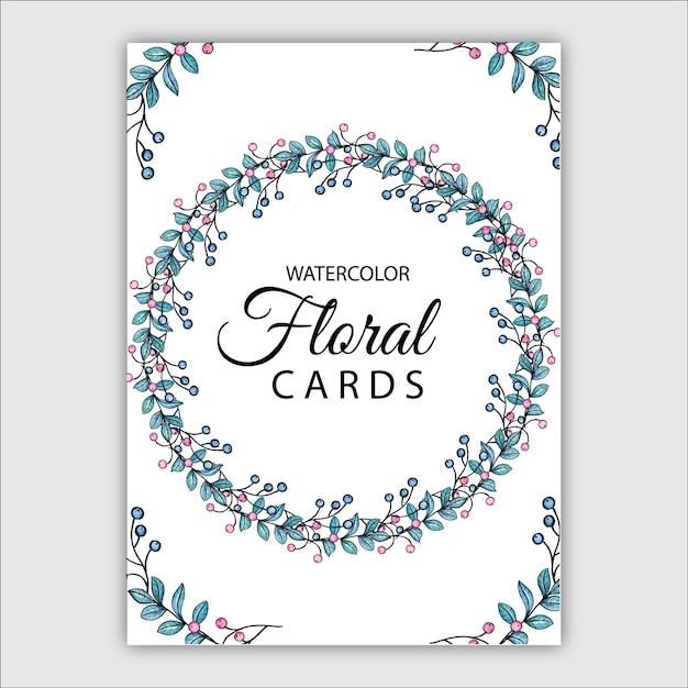 Watercolor floral cards Premium Vector