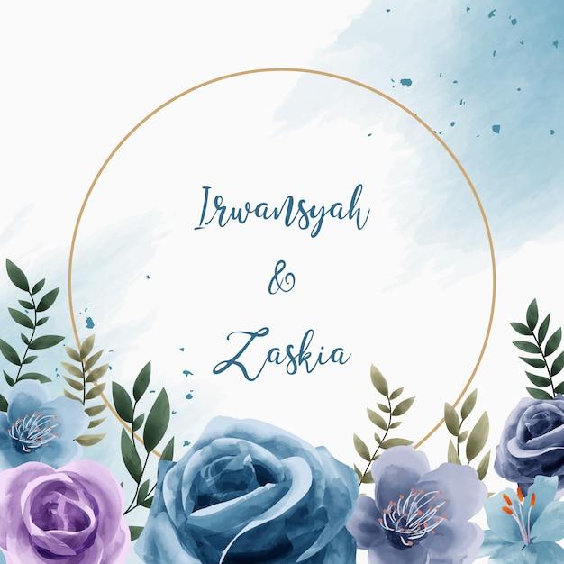 Watercolor floral circle frame for wedding invitation card Premium Vector