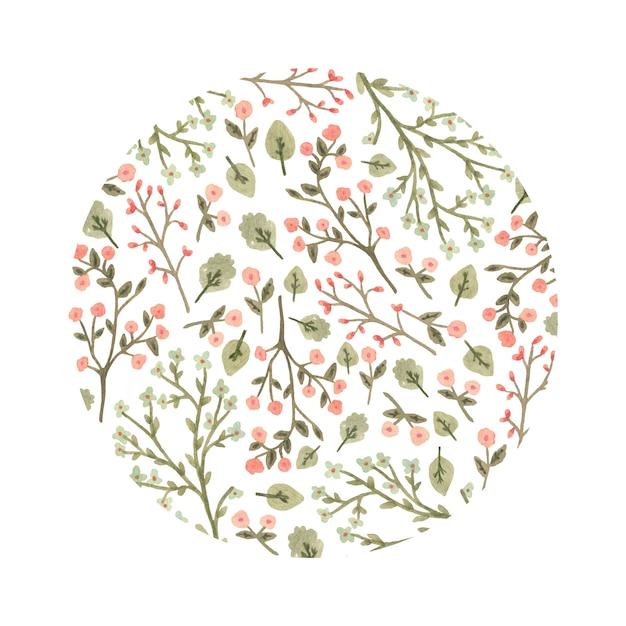 Акварель цветочный круг в романтическом стиле. Premium векторы