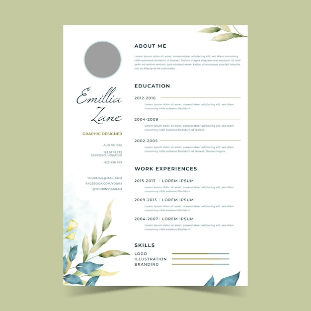 Watercolor floral cv template Free Vector