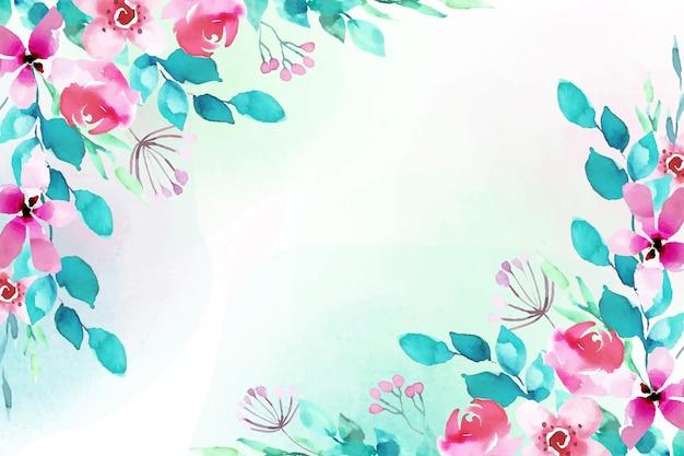 水彩画の花のデザインの背景 無料ベクター