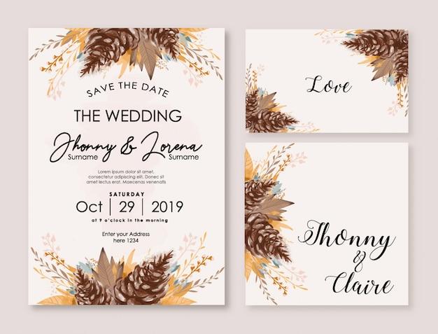 Watercolor floral design for wedding invitation and multi purpose Premium Vector