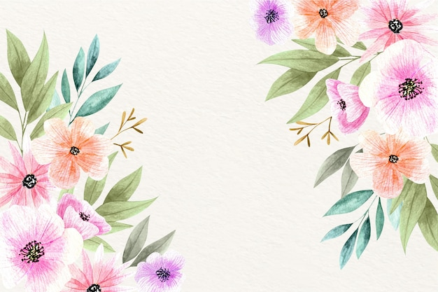 수채화 꽃 우아한 벽지 무료 벡터