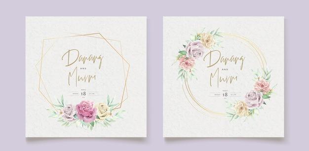 水彩花の要素のウェディングカードセット 無料ベクター