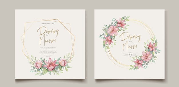 Watercolor floral element wedding card set Free Vector