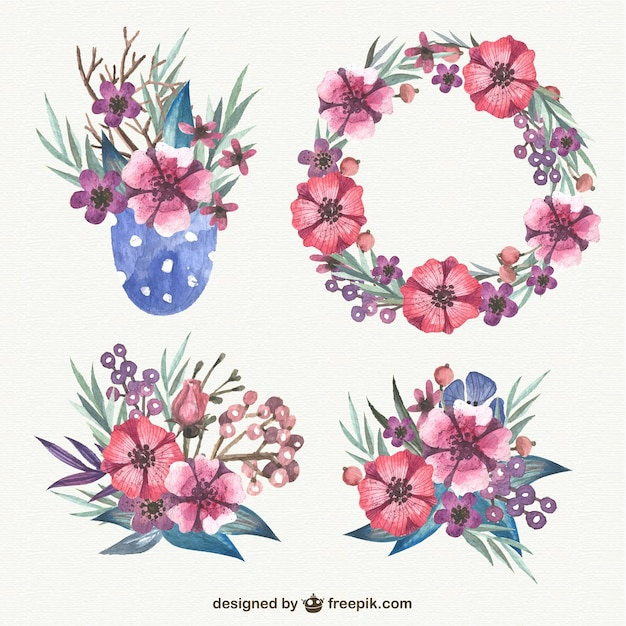 Watercolor floral elements pack Vector | Free Download