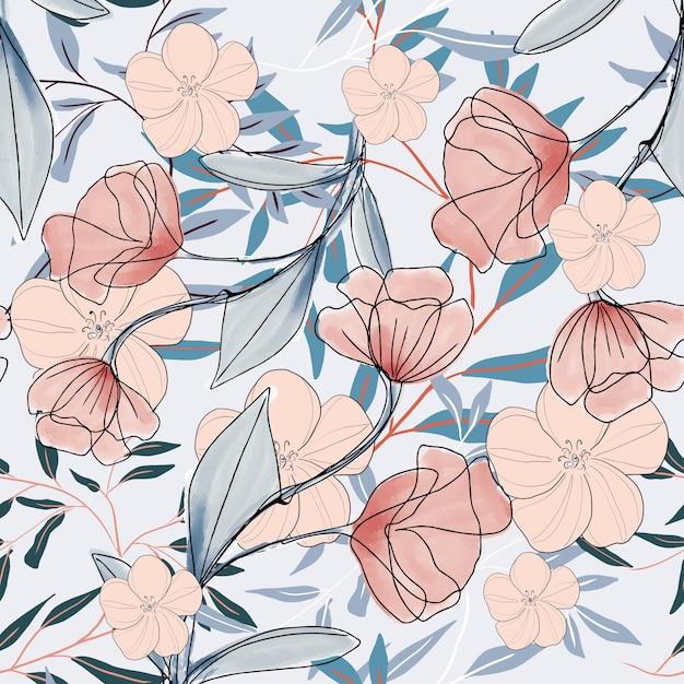 Watercolor floral flower branch pattern Premium Vector