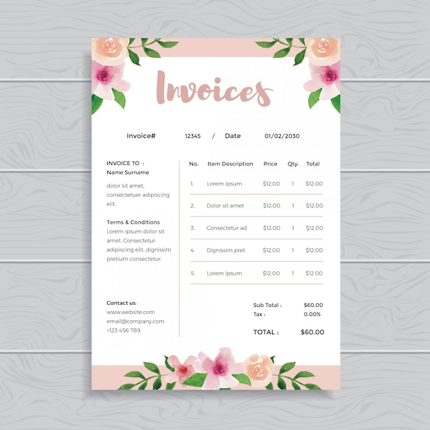 watercolor floral flower invoices template design vector
