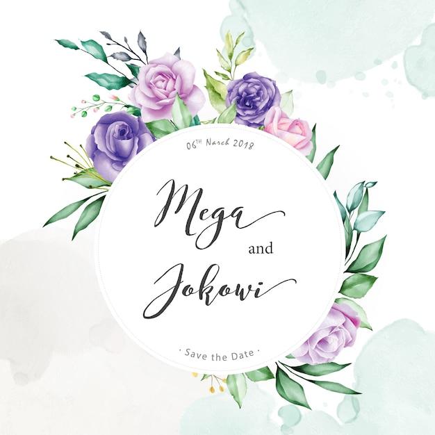 Watercolor floral frame background Premium Vector