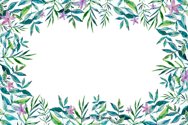 Watercolor floral frame background Free Vector