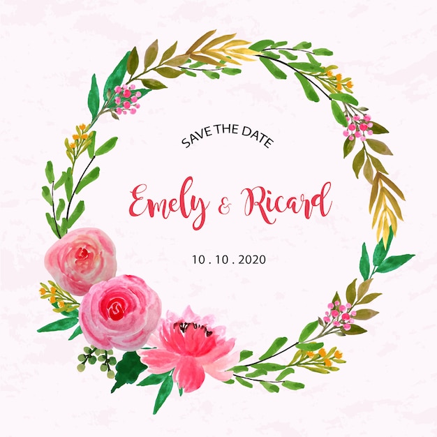 Watercolor floral frame beautiful wreath Premium Vector