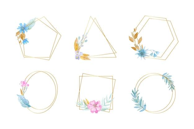 水彩花フレームコレクション 無料ベクター