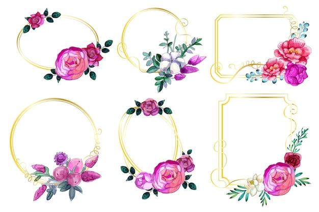 Коллекция акварельных цветочных рамок Бесплатные векторы