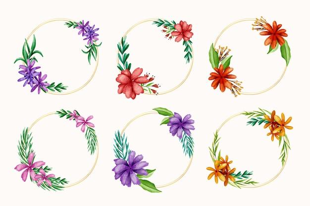 Коллекция акварельных цветочных рамок Premium векторы