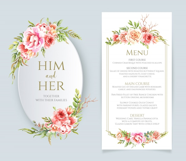 Watercolor floral frame and menu for wedding Premium Vector