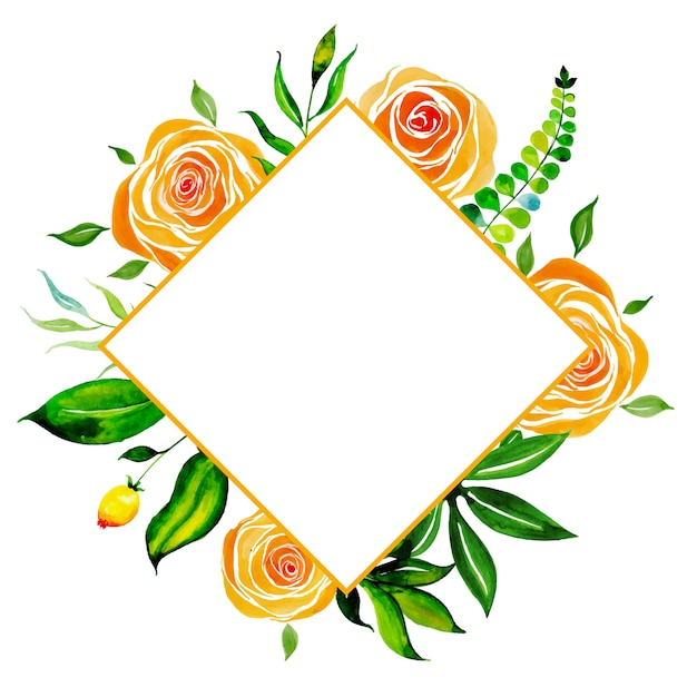 Watercolor Floral Frame Multi-Purpose Background Free Vector