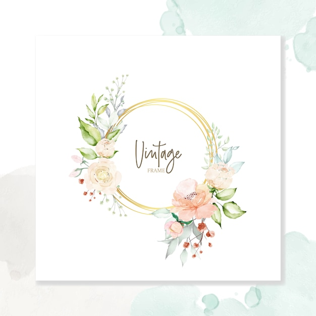 Watercolor floral frame multi-purpose background Premium Vector