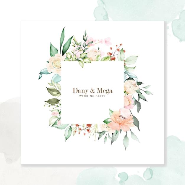 Watercolor floral frame multi-purpose background Premium Vector