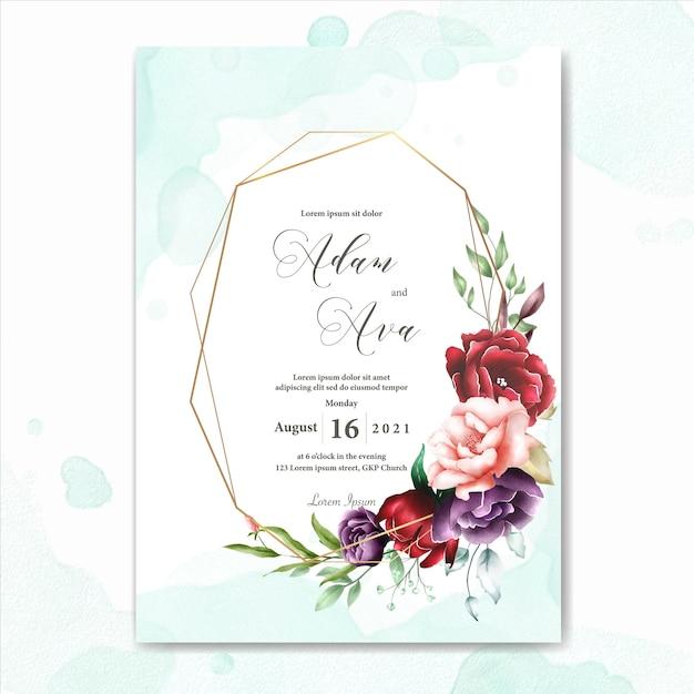 Watercolor floral frame multi purpose background Premium Vector
