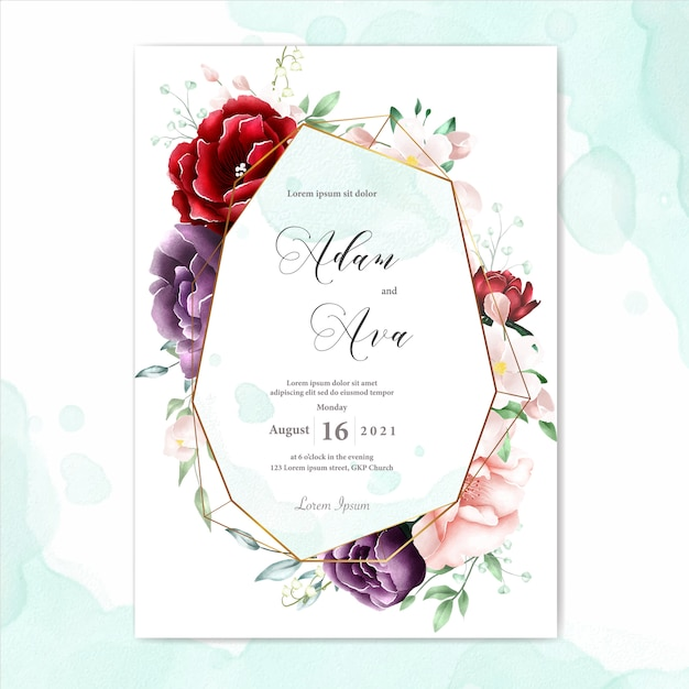 Watercolor floral frame multi purpose background Premium Vector