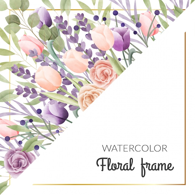 Watercolor floral frame. multipurpose background. Premium Vector
