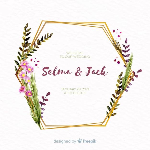 Watercolor floral frame wedding invitation Free Vector