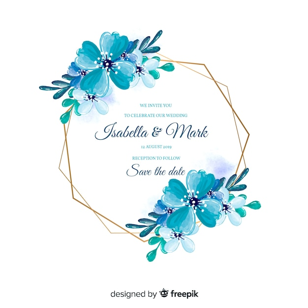 Watercolor floral frame wedding invitation Free Vector