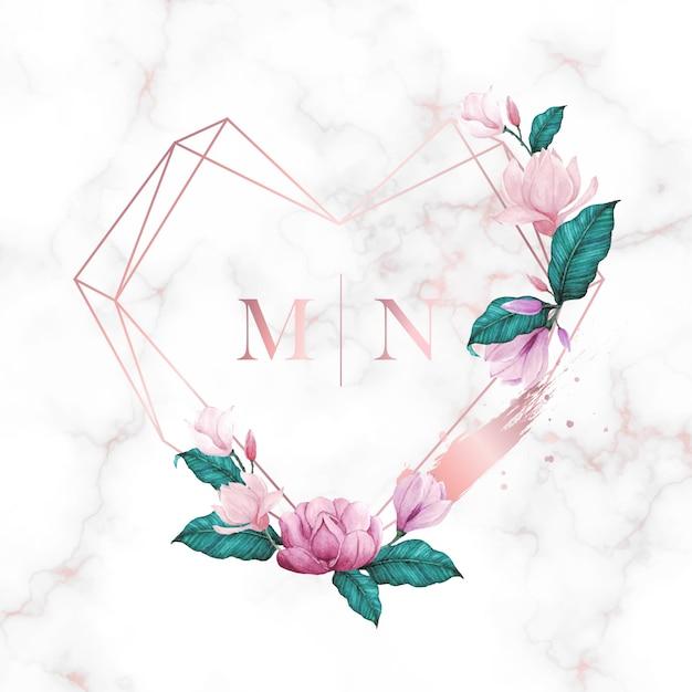 Watercolor floral frame for wedding monogram logo Free Vector
