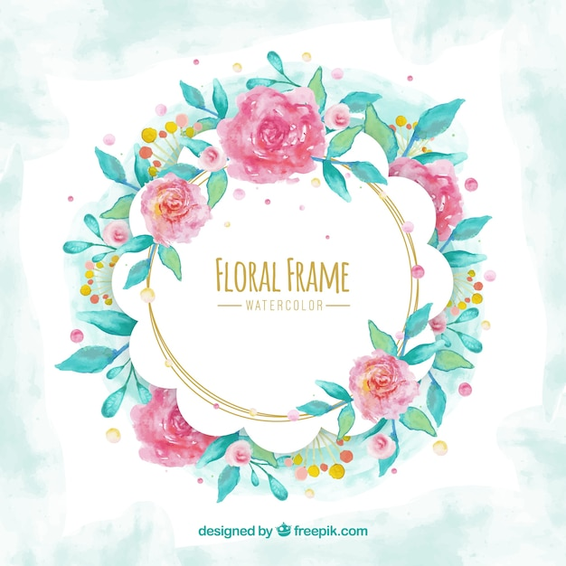 Watercolor floral frame with circular\ design