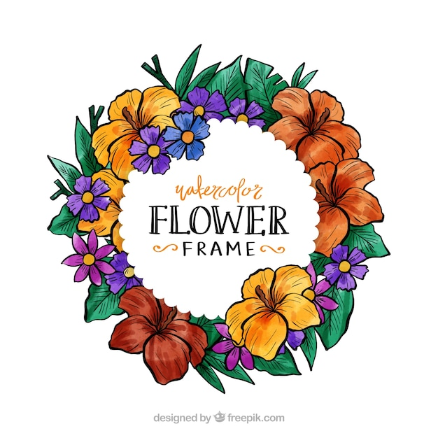 Watercolor floral frame with circular design Vector | Free Download