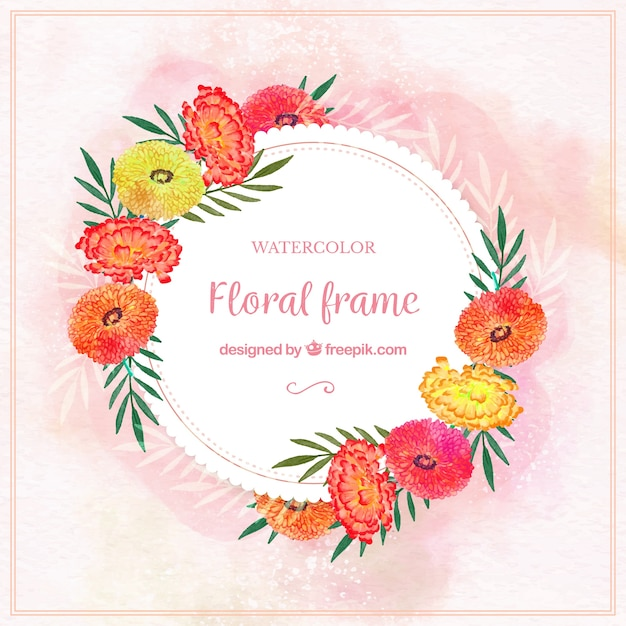 Watercolor floral frame with classical style
