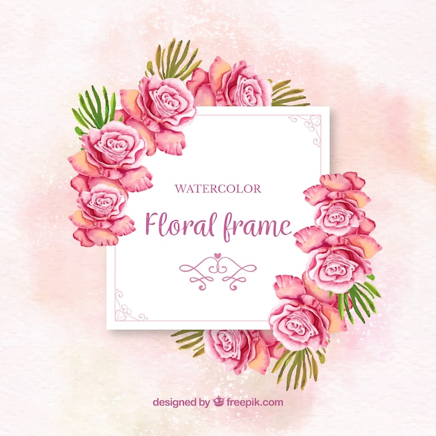 Watercolor floral frame with colorful roses