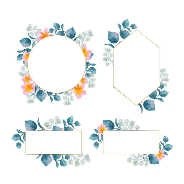 Watercolor floral frame with gold frame collection Free Vector