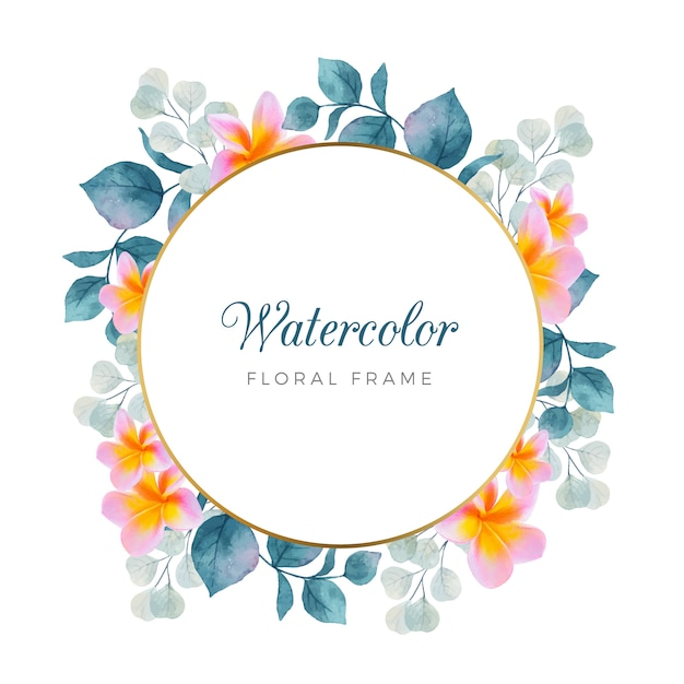 Watercolor floral frame with gold frame Free Vector