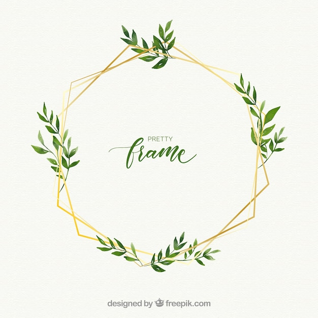 Watercolor floral frame with golden lineal style Free Vector