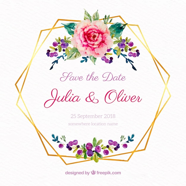 Watercolor Floral Frame With Golden Lines Vector Free Download