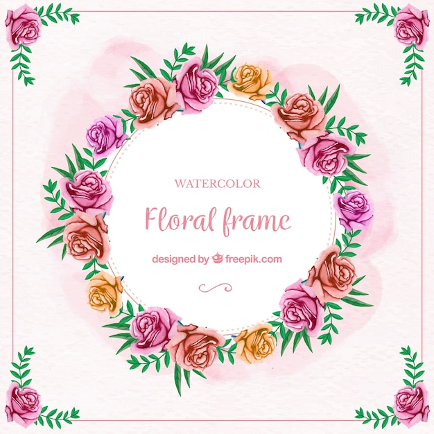 Watercolor floral frame with multicolored roses