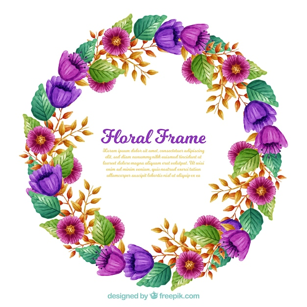Watercolor floral frame with purple flowers